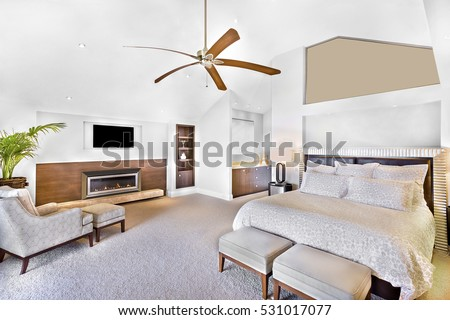 Modern bed area including furniture, television is attached to wall, one chair close to flower pot, fan can see on ceiling, lamp table near wall, perfect lights balancing, very clean area.
