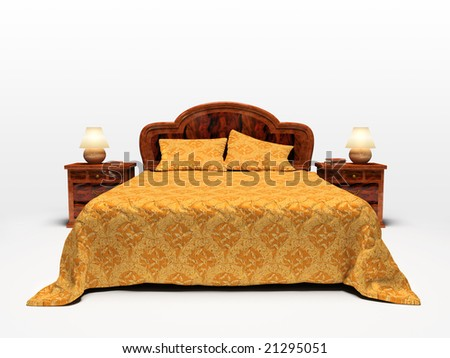 Modern bed isolated on white background 3D rendering