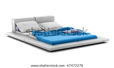 modern bed isolated on white background with clipping path