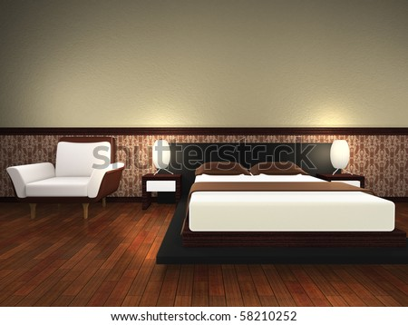 Modern bed room. 3d render.