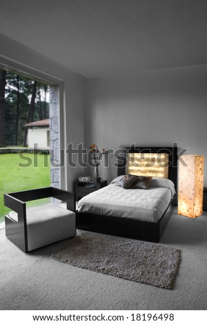modern bed room designed interior, decorated in white tones
