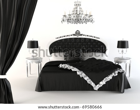 Modern Bedroom And Royal Furniture Isolated On White Background ...