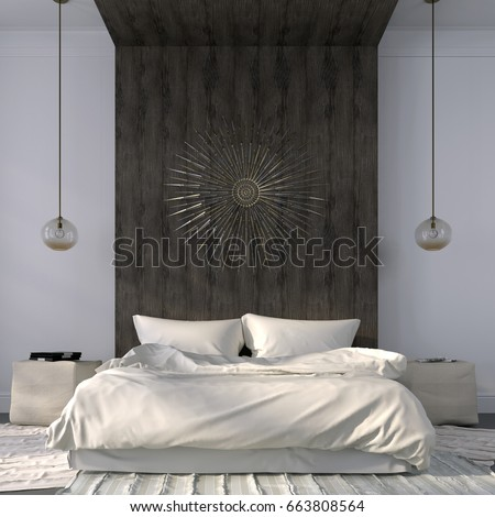 Modern bedroom in light colors with emphasis on the wooden ledge behind the bed