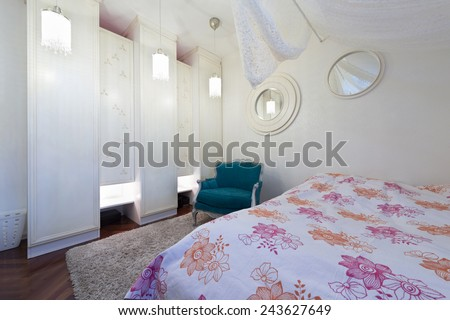 Modern bedroom in loft apartment
