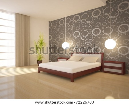 modern interior of a bedroom...