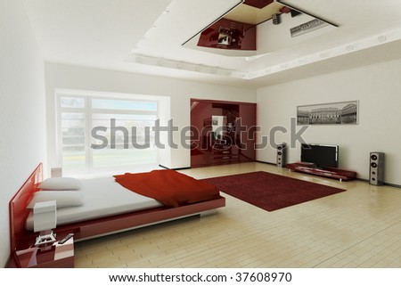 Modern bedroom interior 3d render - stock photo