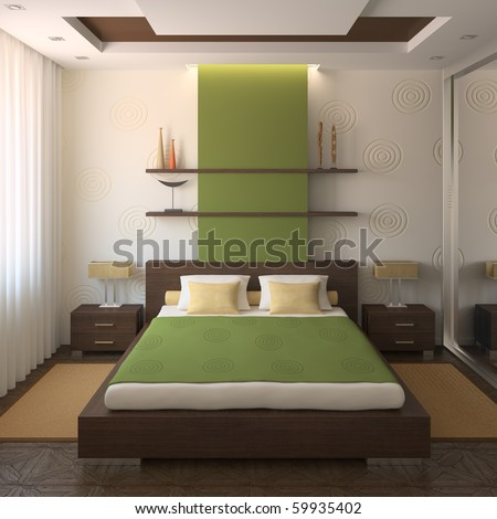 Modern Bedroom Interior. 3d Render. Stock Photo 5993540