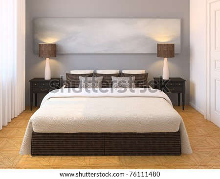 Modern Bedroom Interior. 3d Render. Stock Photo 7611148