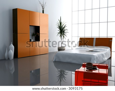 Modern Interior Design Bedroom on Stock Photo   Modern Bedroom Interior Design  Computer   Generated