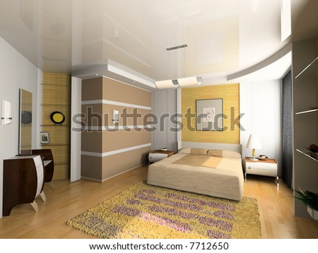 stock photo : modern bedroom interior design (computer