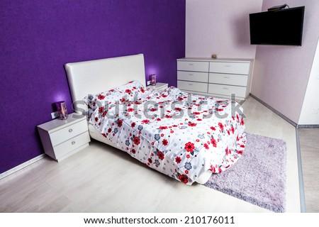 Modern bedroom interior design. Professional lighting. Home sweet home. Comfy