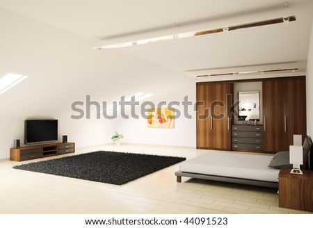 Modern bedroom interior penthouse 3d render