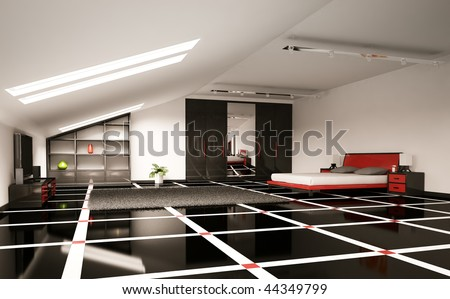 Modern Bedroom Interior Penthouse 3d Render Stock Photo