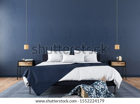 Modern bedroom interior with a stylish combination of trendy blue and light wood texture / 3D illustration, 3d render Foto stock ©