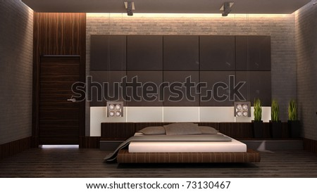 modern bedroom with brown bed 3d