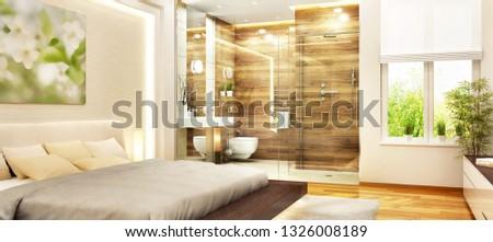 Modern bedroom with modern bathroom and window. 3d rendering