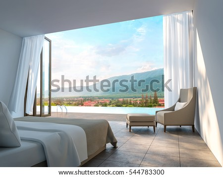 Modern Bedroom with mountain view 3d rendering Image. There are border less swimming pool There are large open door overlooking the surrounding nature and mountains