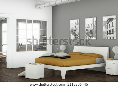 modern bedroom with 3 Photoframes on the Wall 3d Illustration #1113235445