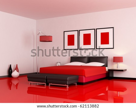 modern  bedroom with red floor and white wall - rendering