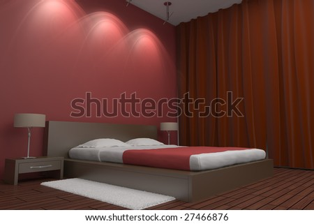 modern bedroom with red wall