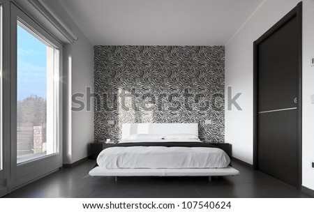 Modern Bedroom With Wall Paper Black And White Stock Photo ...