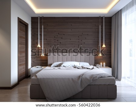 Modern bedroom with wooden 3D panels on the wall, LED Backlight on ceiling. 3d render