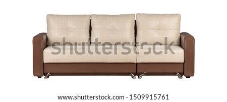 Modern beige and brown sofa isolated