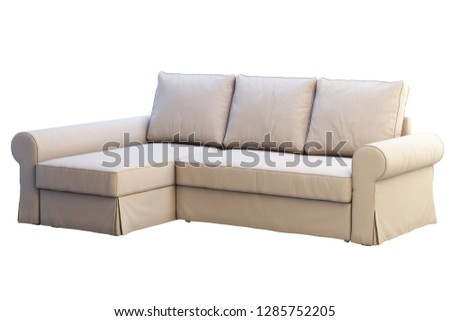 Modern beige fabric sofa with chaise lounge on white background. Scandinavian interior. 3d render #1285752205