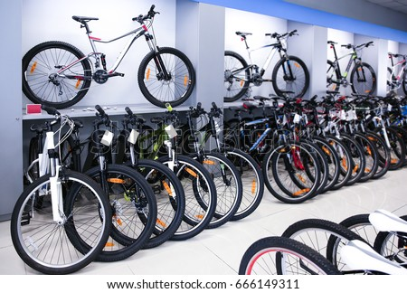 Modern bicycles in sport shop