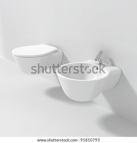 Modern Bidet Toilet Seat - 3d illustration