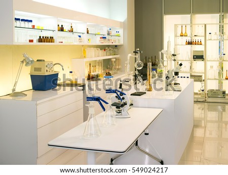 modern biological lab with empty background