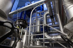 Modern biomass co-generation power plant inside view