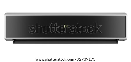 modern black air conditioner isolated on white background