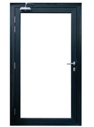 Modern black aluminium glass door isolated on white background, Shopfront entrance open window frame for interior store design