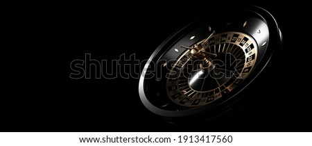 Modern Black And Golden Roulette Wheel. Casino Gambling Concept - 3D Illustration Photo stock ©