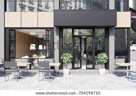 Modern black and gray cafe interior with a rectangular sign, wooden tables and metal chairs. 3d rendering mock up