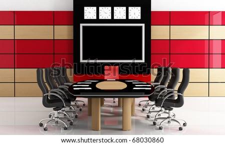 Modern black and red meeting-room  - rendering