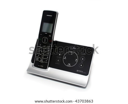 Modern Black and Silver Cordless Phone and Answering Machine on White Background
