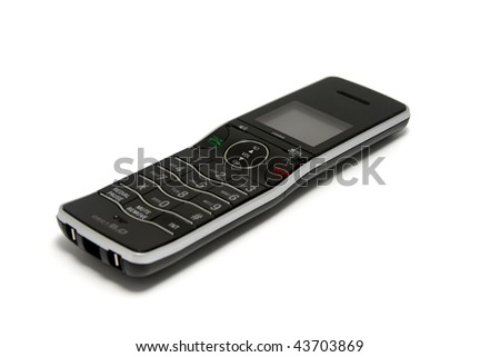 Modern Black and Silver Cordless Phone on White Background