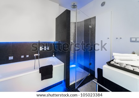 Modern black and white bathroom with shower and bath