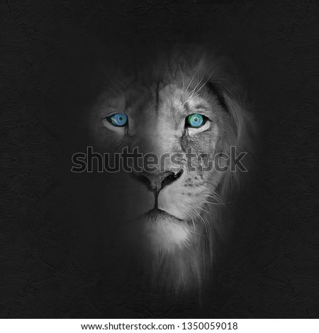 modern black and white oil painting of lion with blue eyes, artist collection of animal painting for decoration and interior, canvas art, abstract. lion head portrait painting - Illustration