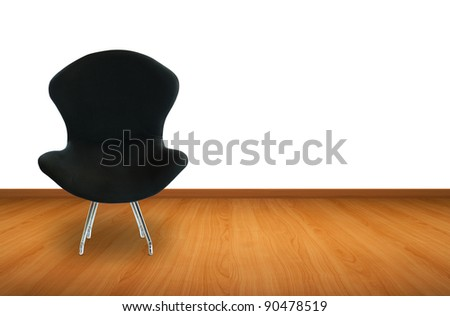Modern black chair with wooden floor