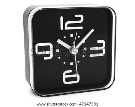 modern black clock against white - stock photo