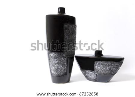Modern black empty flower vase with ornate metallic pattern