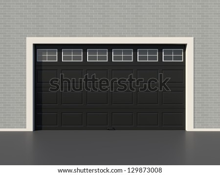 Modern Black Garage Door With Windows Stock Photo