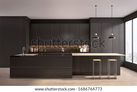 Modern black kitchen near window with a wooden floor,countertops with black cupboards,bar,stools,lamp in the foreground.3d rendering