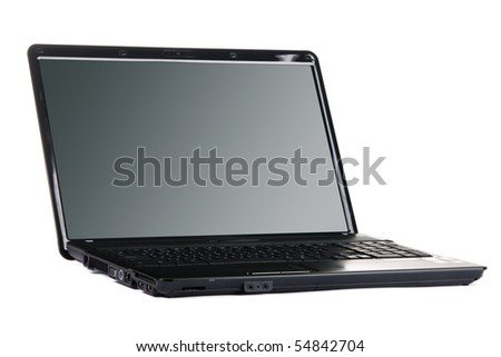 Modern black laptop isolated on white background