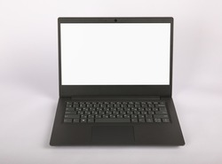 Modern black laptop with blank white screen isolated on grey background. Notebook.