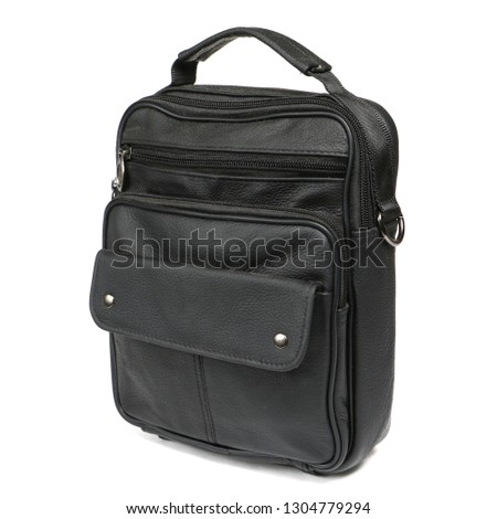 Modern black leather men casual or business messenger case isolated on white background. Shooted in professioanl photo studio for bloggers and advertising agencys.