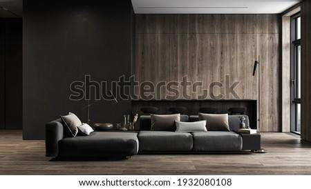 Modern, black minimalist interior with kitchen, sofa, wood floor, wall panels and marble kitchen island. 3d render illustration mock up.